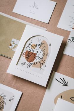 Collection mariage Mariette et Pierre - oiseaux et craie grasse - zoom 2
