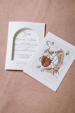Collection mariage Mariette et Pierre - oiseaux et craie grasse - zoom 4 - faire-part arche et carto