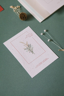 Astrid et Loïc collection - carte merci sur papier ensemencé