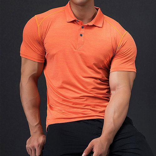 Men Golf Polo Shirts Ice Cool Dry Fabric Running Top Slim  Fit Short Sleeve  Pro