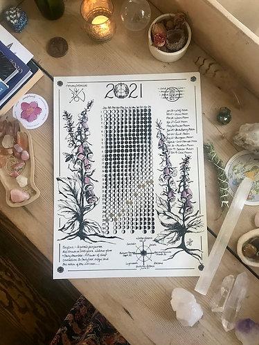 2021 Moon Calendar 18x24 cold press archival watercolor paper