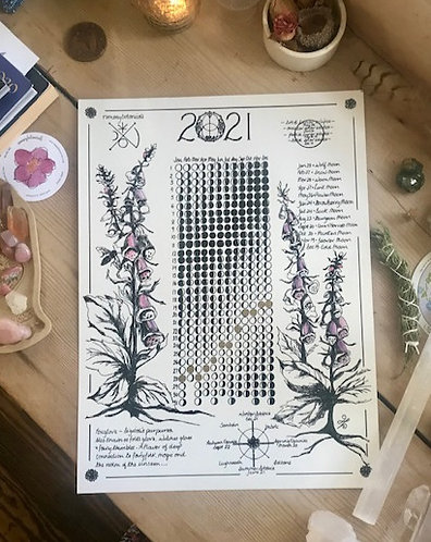 2021 Moon Calendar 12x16 cold press archival watercolor paper