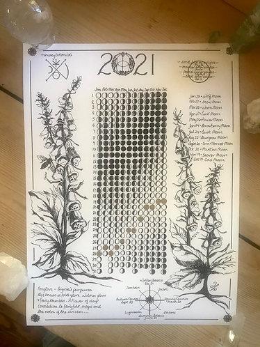 2021 Moon Calendar 11x15 coated card stock