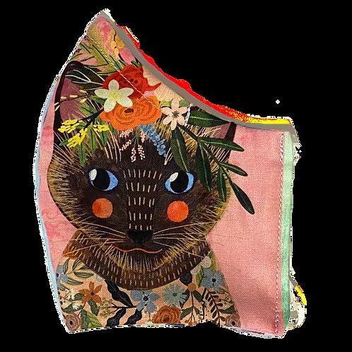 Floral Felines face mask