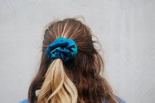 Blue/Green Blur silky scrunchie