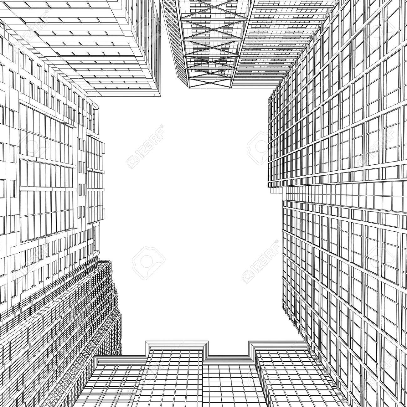 20055362-skyscraper-rendering-in-lines-isolated-render-on-a-white-background