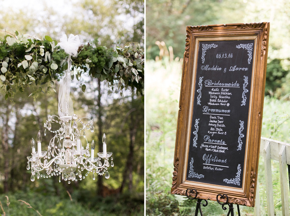 wedding board and chandelier