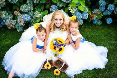 Bride and children