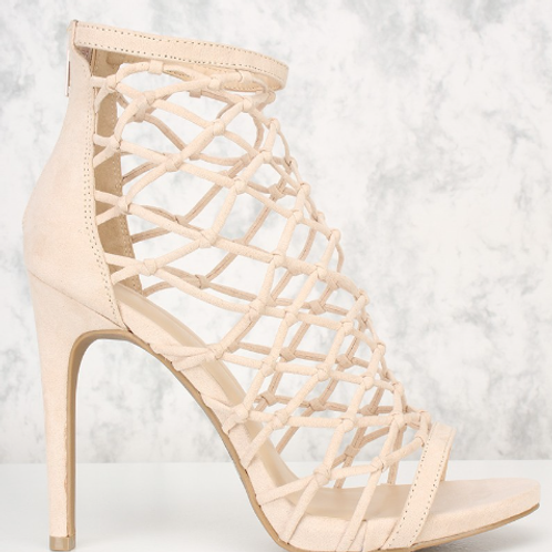 Nude Caged Faux Suede