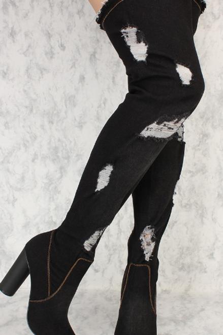 Distressed Thigh High Denim Boot