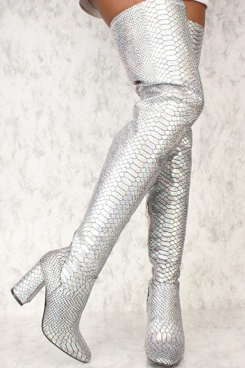 Silver Reptile Bootie