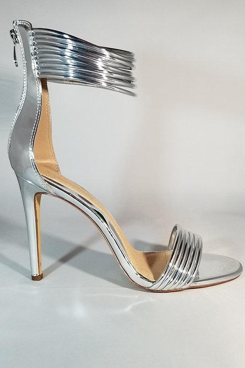 Silver Ankle Wrap Stiletto