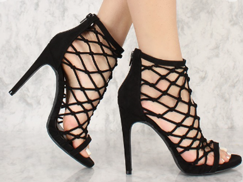 Black Caged Faux Suede