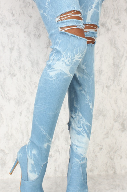 Denim Distressed Over The Knee Boot