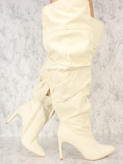 Off White Ruched Boot