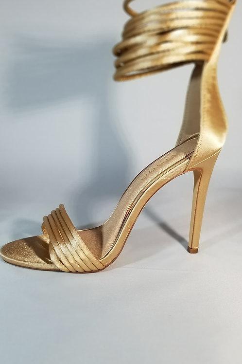 Champagne Ankle Wrap Stiletto