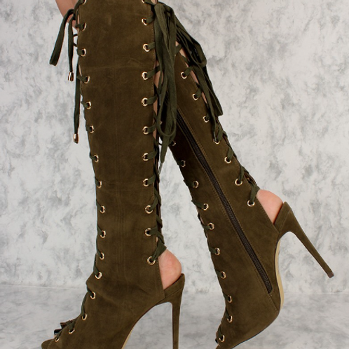 Olive Peep Toe Front And Back Cutout