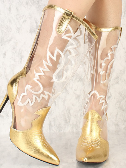 Gold Embroider Faux Leather Boots
