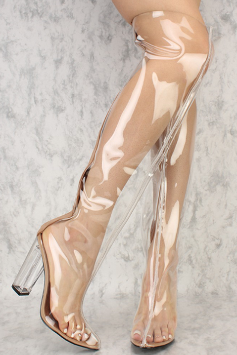 Clear Taupe Lined Thigh High