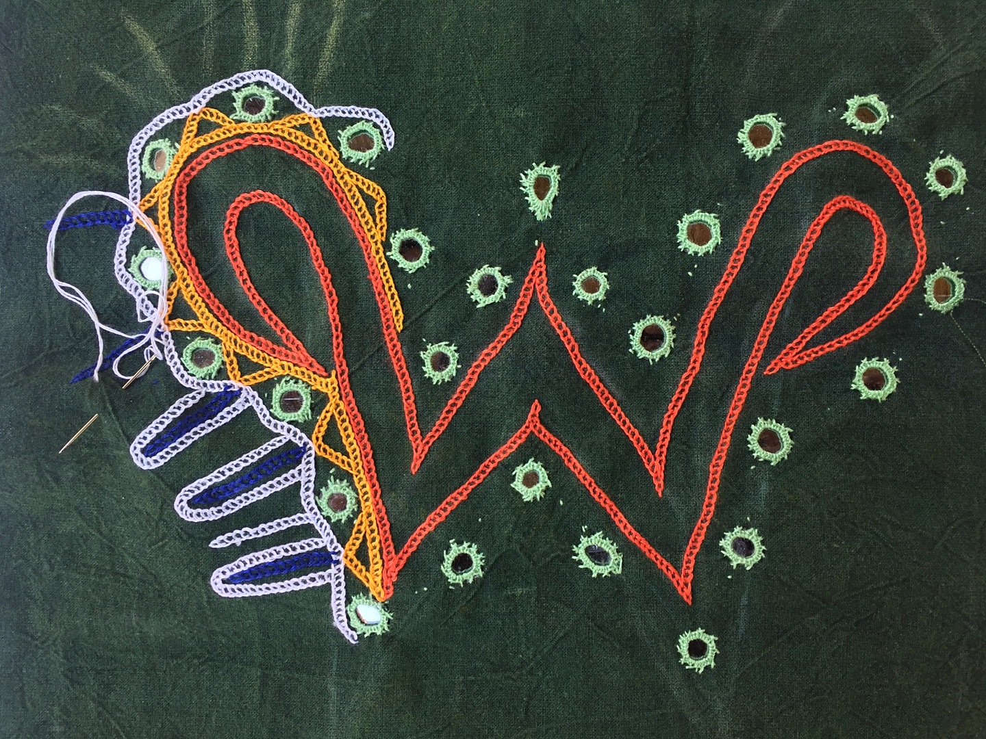The W in the process of embroidery