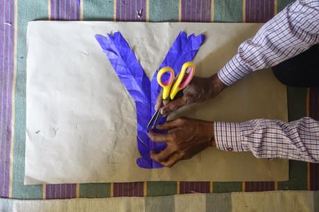 A mockup of a Y using paper, Barmeri Kataav-ka-kaam