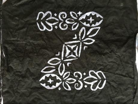 A completed applique of the letter Z Barmeri Kataav-ka-kaam