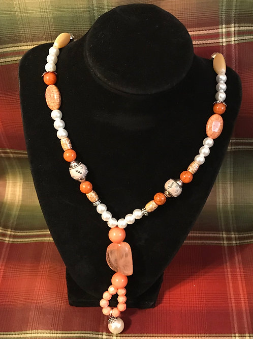 Tangerine/Cream Mixed Necklace 18 inch