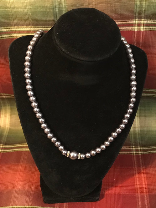 Grey Beaded  Necklace 22inch