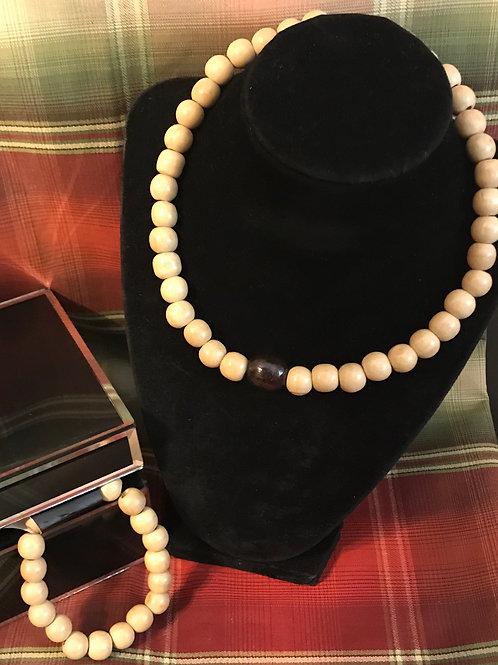 Wooden Necklace & Bracelet Set