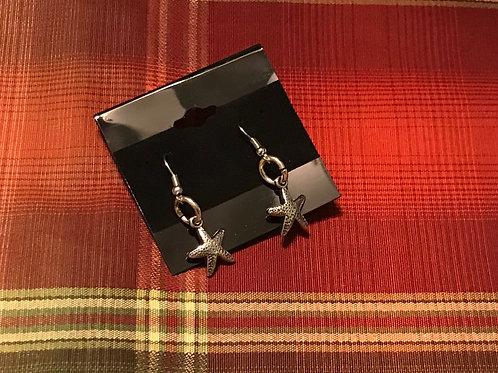Silver Toned Sand Dollar Earrings