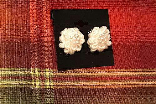 Ivory Cloth Flower Earrings