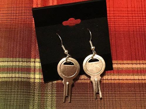 Silver Toned Key Earrings