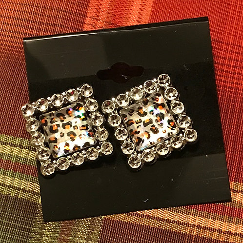 Cheetah Print/Stud Border Earrings