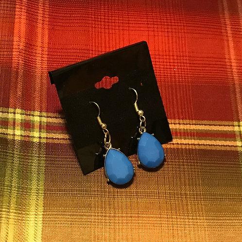 Teal Blue Tear Drop Earrings