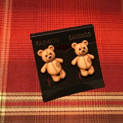Tan Teddy Bear Earrings