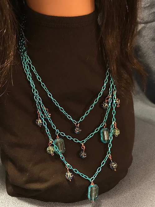 """Teal Beaded Chain Necklace 24"""""""