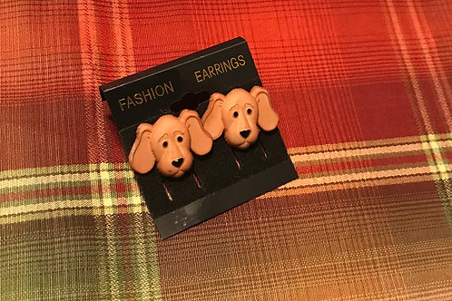 Tan Dog Earrings