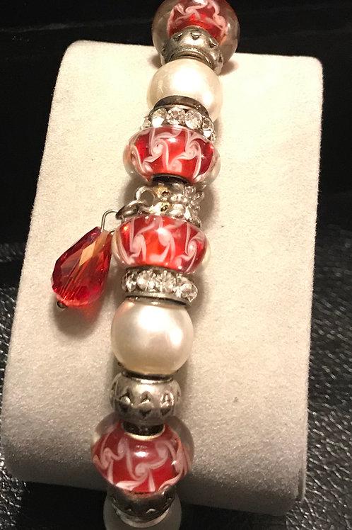 Red/Ivory Silver Bracelet