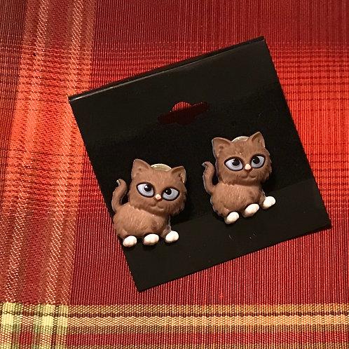 Brown Cat Earrings