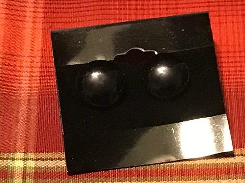 Black Button Type Earrings