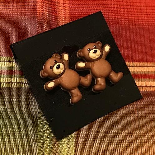 Dark Brown Teddy Bear Earrings