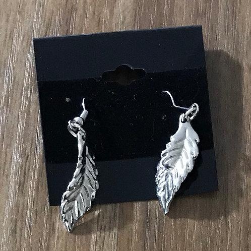 Silver Toned Leaf Earrings