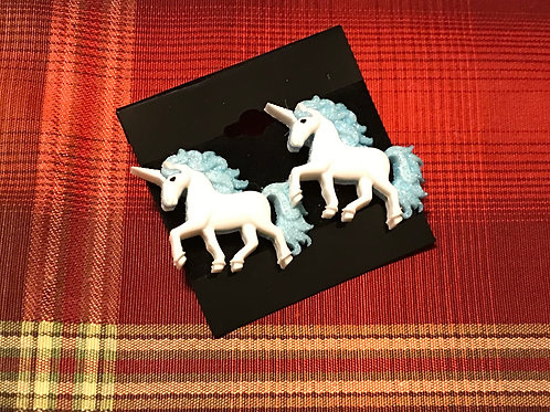 Blue/Cream Unicorn Earrings