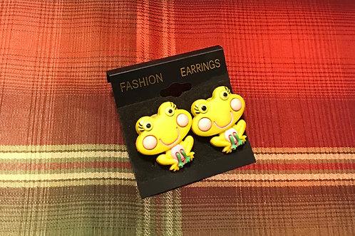 Yellow Frog Earrings