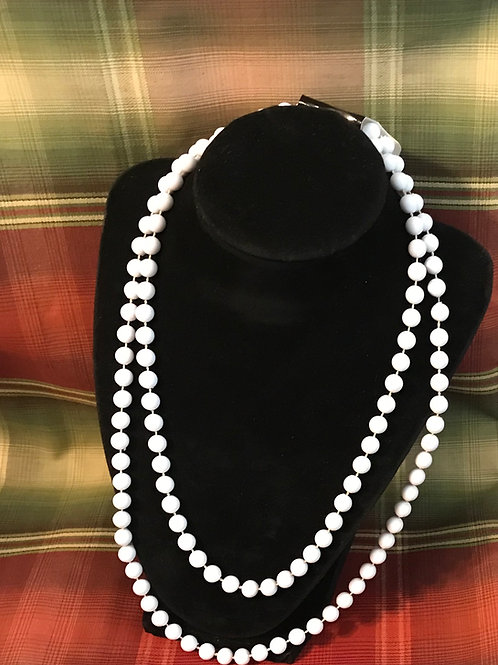 White Beaded Necklace 28 inch