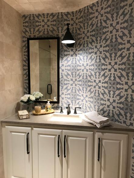 Blue Pattern Bathroom