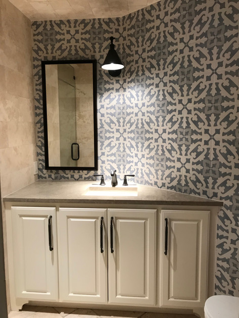 Blue Pattern Bathroom