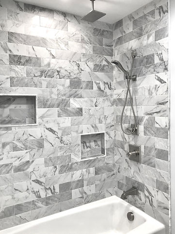 Marble-Look Shower After