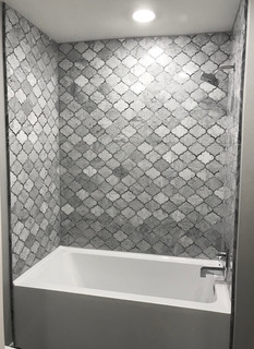 Modern Luxury Jack & Jill Mosaic Marble Tub/Shower