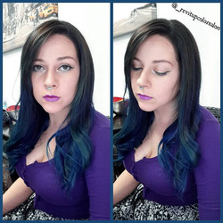 Loving _slob_queen and her awesome blue,violet,and turquoise locks that we did last night !!! 😍🌬🌨